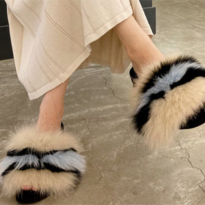 F 폭스 퍼 slipper / 2 color
